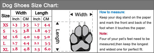 dog shoes size chart