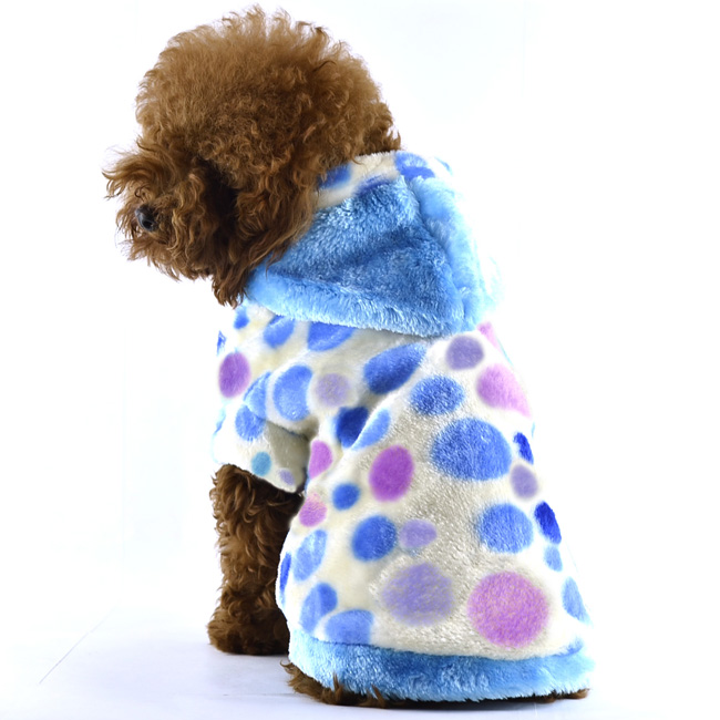 Blue Furry Dotted Dog Warm Coat-Petsoo.com