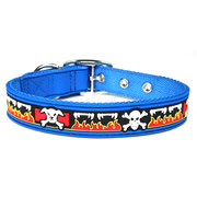Cute Blue Skull Design PVC Dog Collars