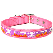 Cute Pink Skull Pattern PVC Dog Collars