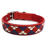 Red Diamond Plaid Pattern Pure PVC Nylon Webbing Mental Dog Collar