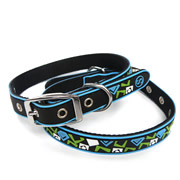 Black Square Pattern Pure PVC Nylon Webbing Mental Dog Collar