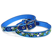 Blue Round Square Patterne PVC Nylon Webbing Mental Dog Collar