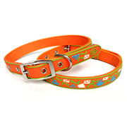 Orange Square Pattern Pure PVC Nylon Webbing Mental Dog Collar