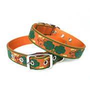 Cute Brown Clover Design PVC Dog Collars