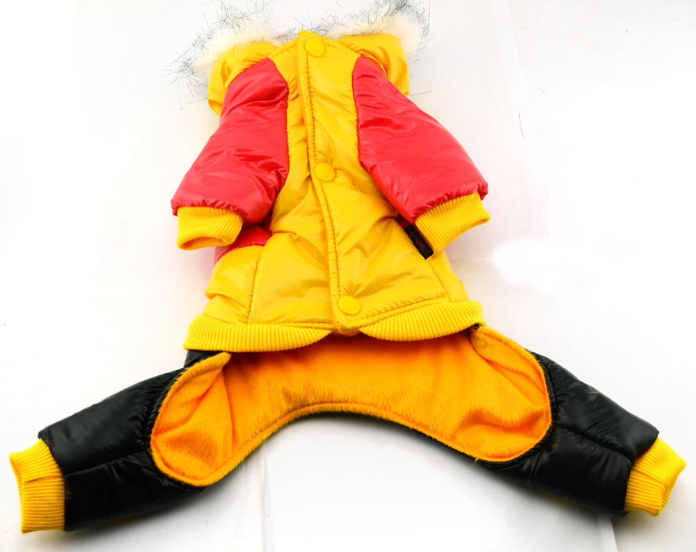 Contrast color four legs dog clothes coat with detachable - Contrast color with yellow ...