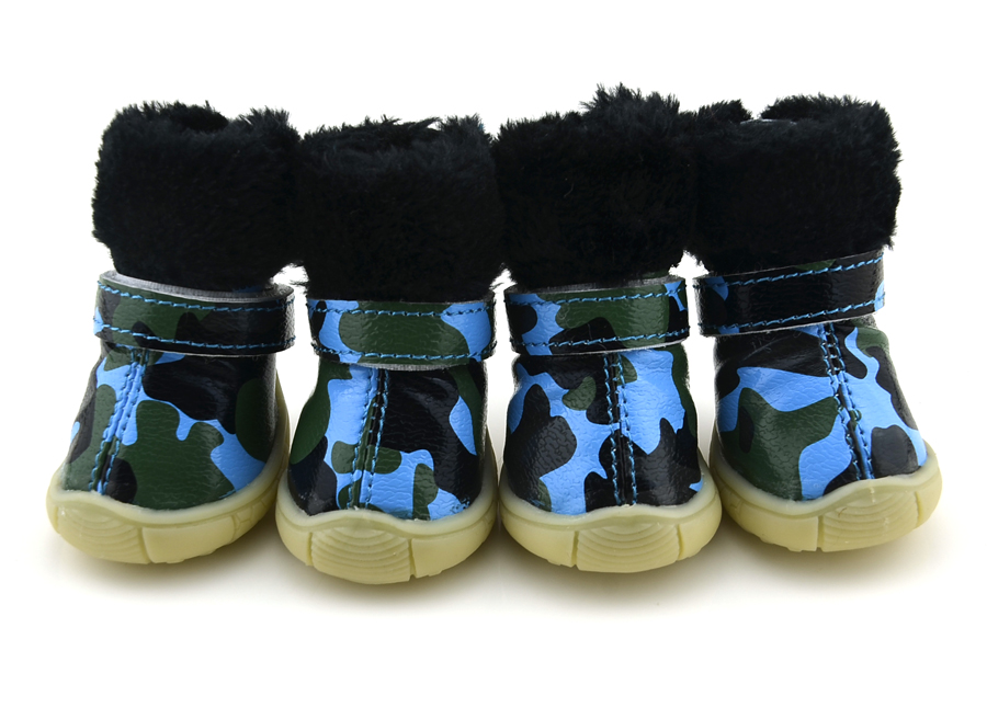 Camo PU leather Dog Shoes winter Dog Boots Blue