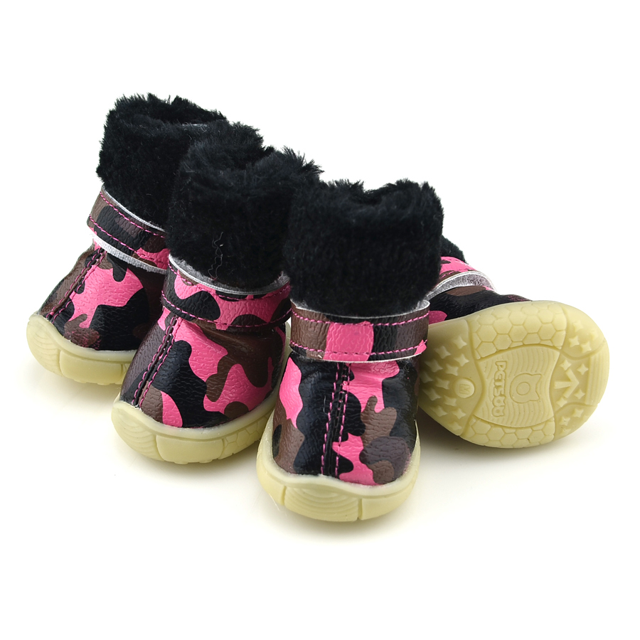 Camo Pu Leather Dog Shoes Winter Dog Boots Pink Petsoo Com