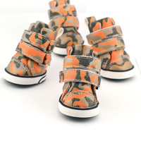 Camo PU leather Dog Shoes winter Dog Boots - Pink