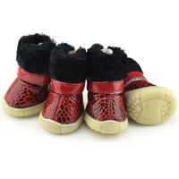 Leopard Decoration Suede Dog snow boots Lining Sherpa Tan