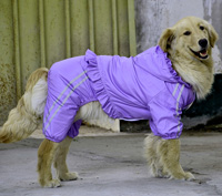 Large Dog Raincoat Waterproof Biger Pet Clothes Reflective Double layer Mesh Purple