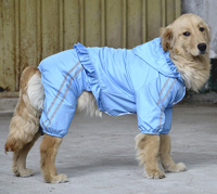 Large Dog Raincoat Waterproof Biger Pet Clothes Reflective Double layer Mesh Blue