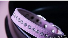 Pink velvet collar diamond dog collar velvet collar