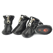 Fashion Zipper Docor Black Water-proof PU Dog Shoes (4 shoes)