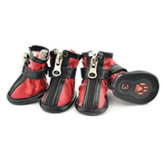 Fashion Zipper Docor Red Water-proof PU Dog Shoes (4 shoes)
