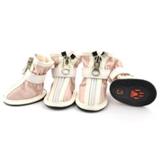 Fashion Zipper Docor Pink Water-proof PU Dog Shoes (4 shoes)