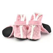 Pink Suede Fabric & PU White Dots Popular Dog Shoes (4 shoes)