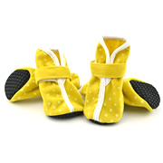 Yellow  Suede Fabric & PU White Dots Popular Dog Shoes (4 shoes)