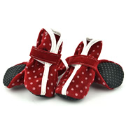 Red Suede Fabric & PU White Dots Popular Dog Shoes (4 shoes)