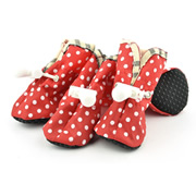 Printed Dots Elastic Band  Red Water-proof Dog Shoes (4 shoes)