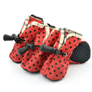 Black Printed Dots Elastic Band Red Water-proof Dog Shoes (4 shoes)