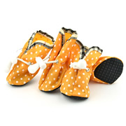 Printed Dots Elastic Band Orange Water-proof Dog Shoes (4 shoes)