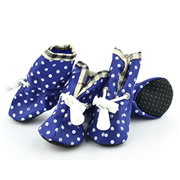 Printed Dots Elastic Band Blue Water-proof Dog Shoes (4 shoes)