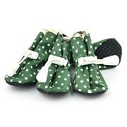 Printed Dots Elastic Band Green Water-proof Dog Shoes (4 shoes)