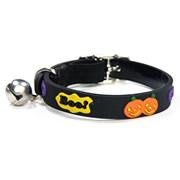 Cute Bell Black Pumpkin Design Elastic Mental Buckle Cat Collars
