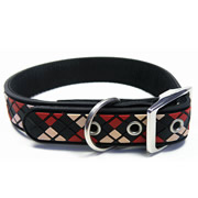 Black Diamond Plaid Pattern Pure PVC Nylon Webbing Mental Dog Collar