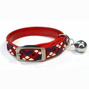 Red Diamond Plaid Pattern Pure PVC Nylon Webbing Mental Cat Collar