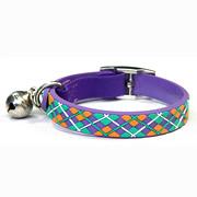Purple Diamond Plaid Pattern PVC Nylon Webbing Mental Cat Collar