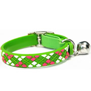 Green Diamond Plaid Pattern Pure PVC Nylon Webbing Mental Cat Collar