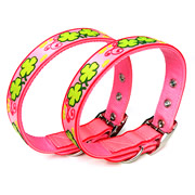 Cute Pink Clover Pattern PVC Dog Collars