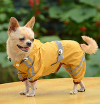 Classic reflective tape water-proof four-legged dog raincoat Yellow