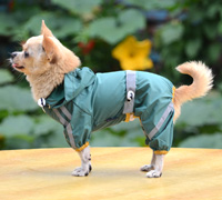 Classic reflective tape water-proof four-legged dog raincoat Green