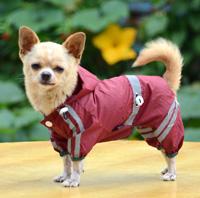 Classic reflective tape water-proof four-legged dog raincoat Purplish Red