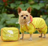 Double-layer mesh four-legged water-proof dog raincoat Yellow
