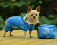 Double-layer mesh four-legged water-proof dog raincoat Blue