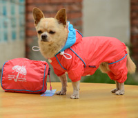 Double-layer mesh four-legged water-proof dog raincoat Deeppink