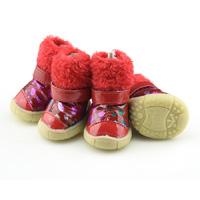 Red Color Bronzing Winer Pet Snow Boots Lining Fleece