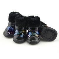 Black Color Bronzing Winer Pet Snow Boots Lining Fleece