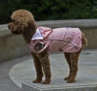 Double-layer mesh water-proof Small Pet Dog Raincoat Pink