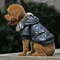 Classic Diamond Stitch Winter Dog Clothes Puppy Coat Black