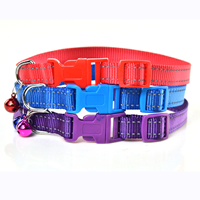 2 Reflective Stripe Nylon Dog Collars Release Buckles Small Bell