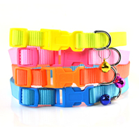 Fluorescent Color Blank Nylon Dog Collars Release Buckles Small Bell