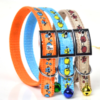 Small Pig Pattern Dog Collars Pin Buckles Bow and Small Bell