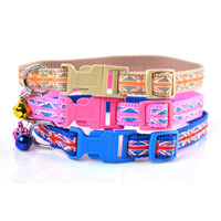 Union Jack Pattern Dog Collars Release Buckles Bow and Small Bell
