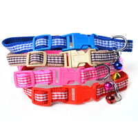 Small Grid Pattern Dog Collars Release Buckles Small Bell