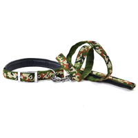 Camouflage Pattern Soft Dog Collars and Dog Leashes Set Soft Foam Lining